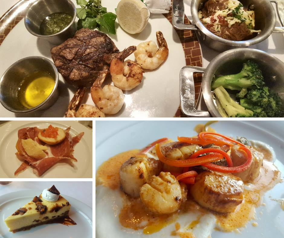 Cruise food collage: surf & turf, scallops, and cheesecake