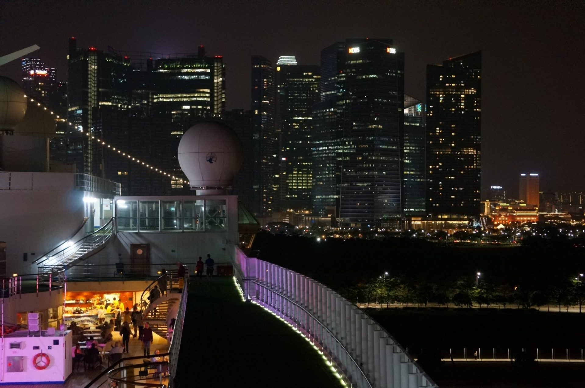 Cruise docked overnight in Singapore