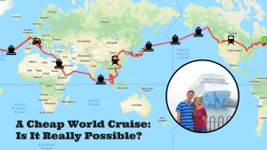 Cheap world cruise itinerary map and title