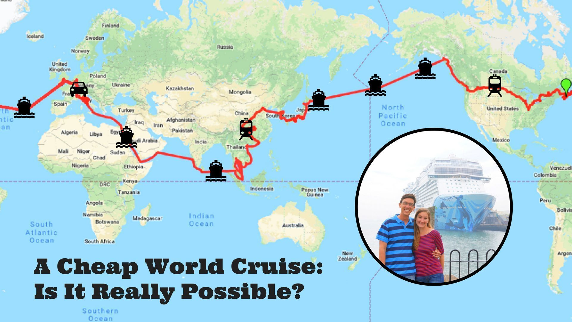 Cheap world cruise itinerary map and title