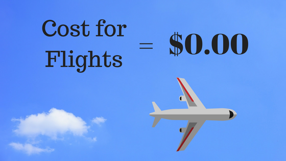 Cost for Flights = $0 image with a cloud and plane