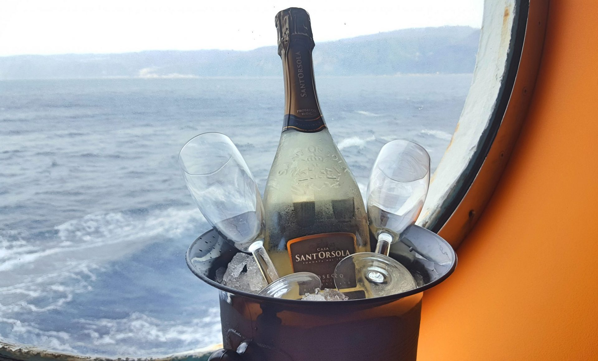 Port Hole and Prosecco on Costa Victoria in Outside cabin