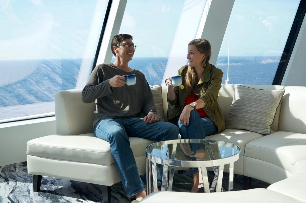 drinking coffee on a cruise ship: Norwegian Bliss
