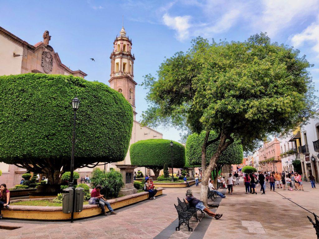 Pedestrian street in Queretaro Mexico