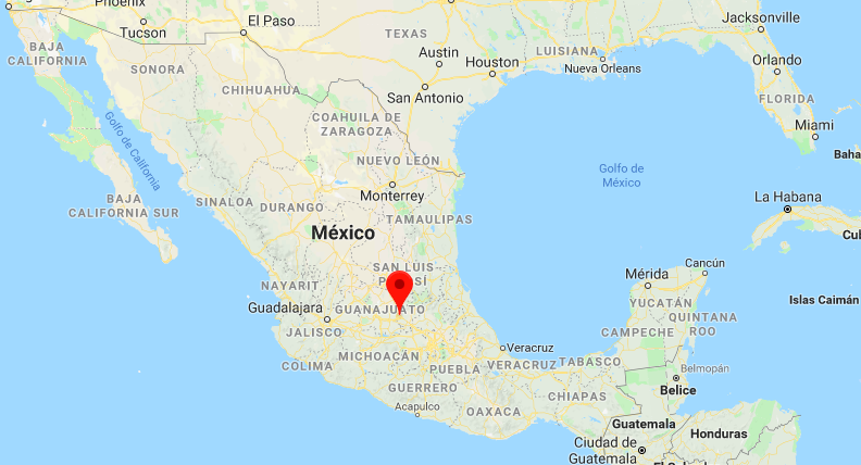 Map: Location of Queretaro Mexico