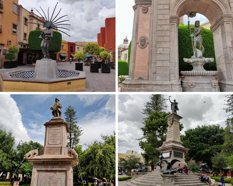 Queretaro Monuments and statues: Fuente de Neptuno, Monumento de La Corregidora, Fuente de los Perritos, and El Danzante Conchero