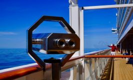 Binoculars on a cruise searching the ocean
