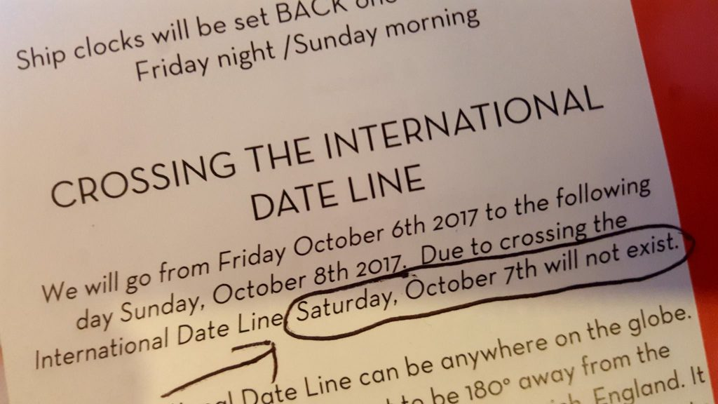 Notice about crossing the international date line