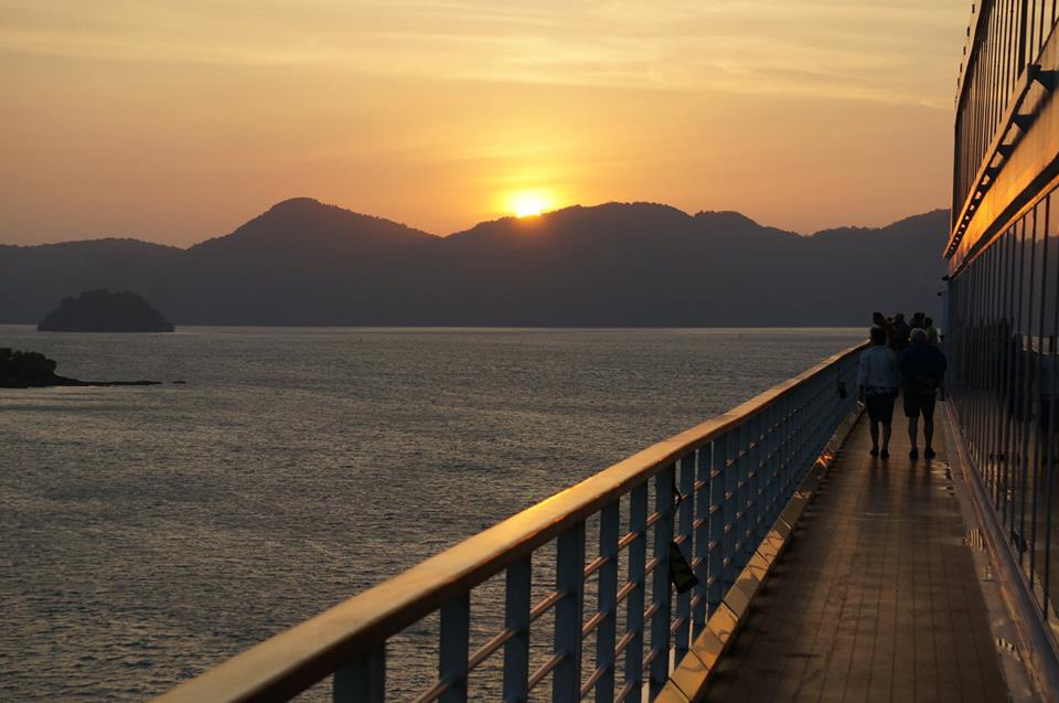 langkawi Malaysia at sunrise while pulling into port on a repositioning cruise