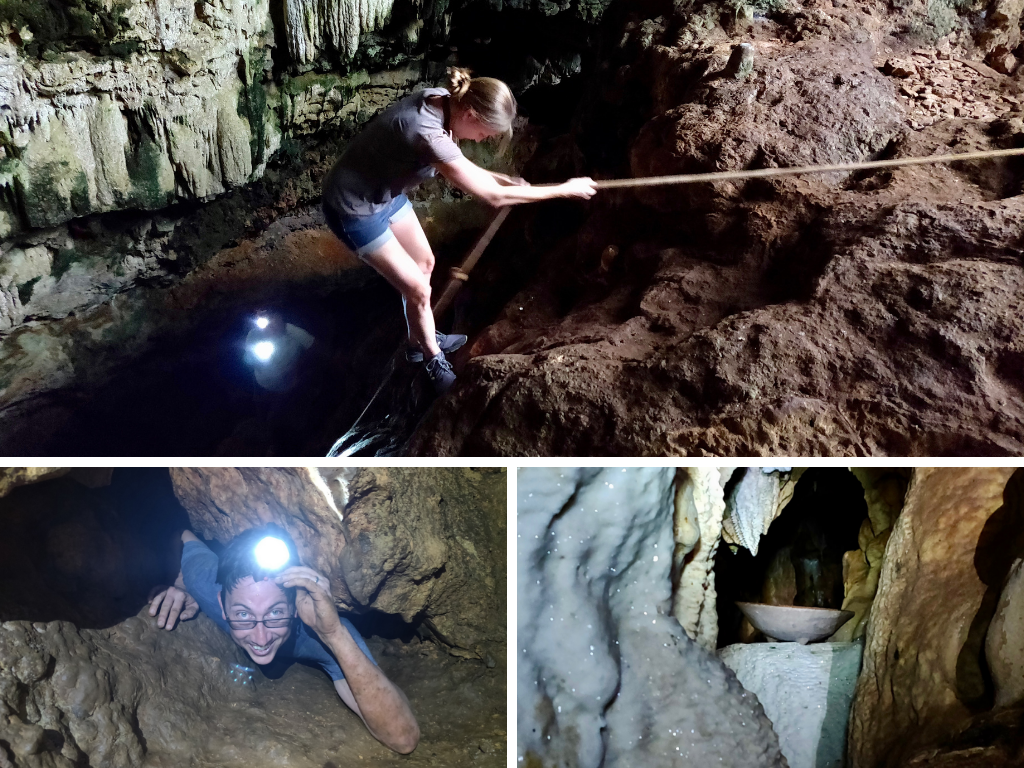 collage of Calcehtok Caves: rappelling into cave, squeezing through hole, and Mayan pottery