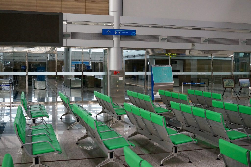 Dorasan Station empty arrivals hall with customs and immigration for North Korea