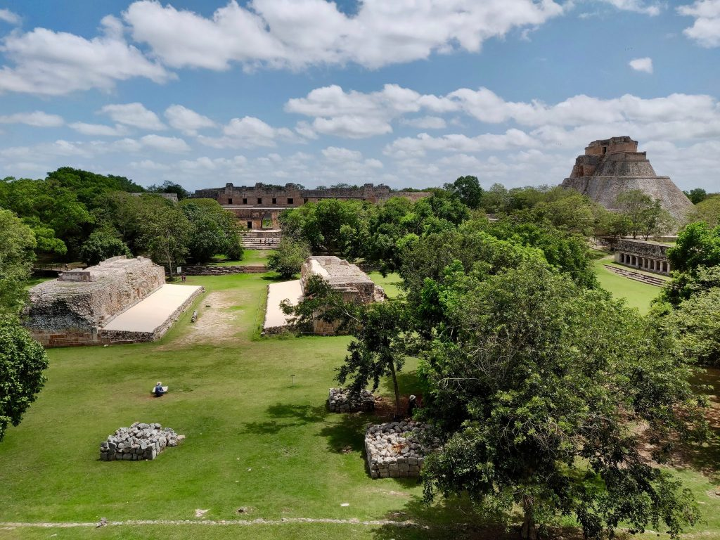 A wide view of the Uxmal mayan ruins site