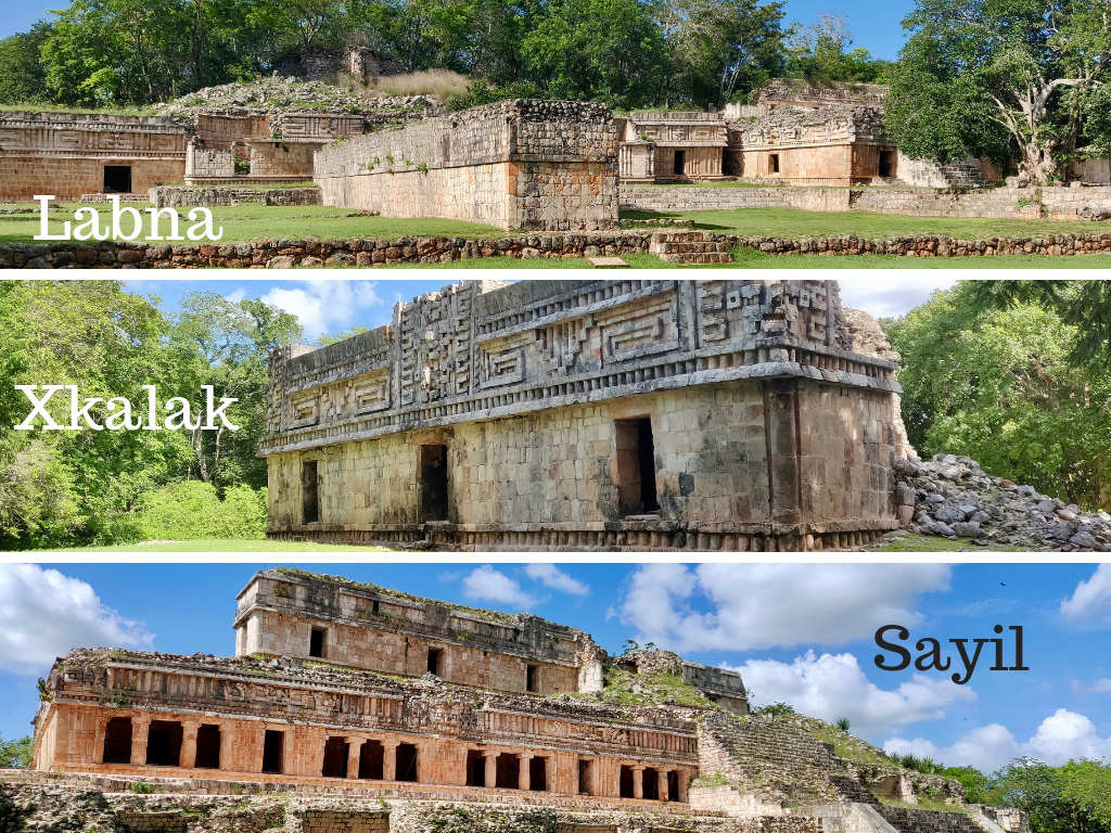 Ruta Puuc ruins collage: Labna, Xlapak, and Sayil