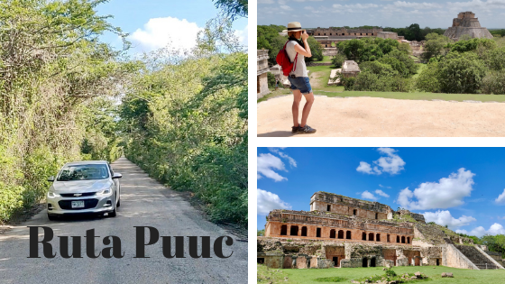 Collage highlighting the Ruta Puuc, showing: rental car driving down road, Heather taking pictures at Uxmal and Sayil ruins