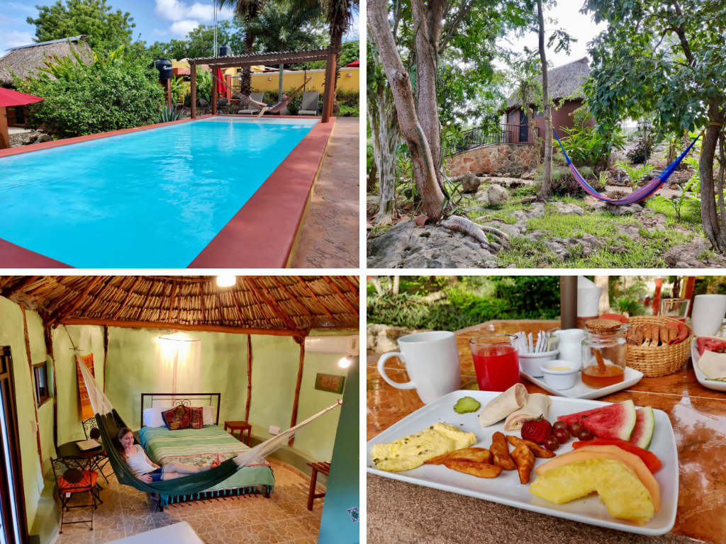 Pickled Onion eco-hotel in Santa Elena is has a pool, gardens, hammocks, and great breakfast