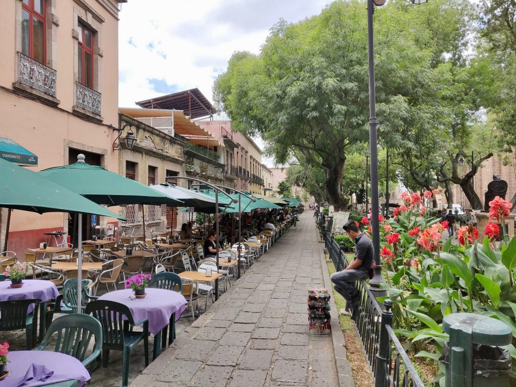 Jardin de las Rosas is a pedestrian plaza in Morelia Mexico