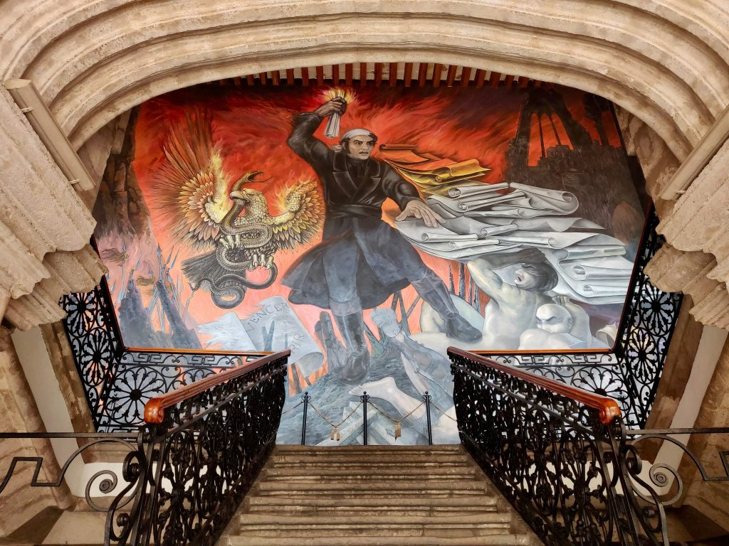 Mural in stairwell of Palacio de Justicia in Morelia, Mexico