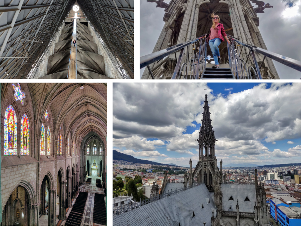 Collage showing steps of climbing the Basilica del Voto Nacional in Quito Ecuador