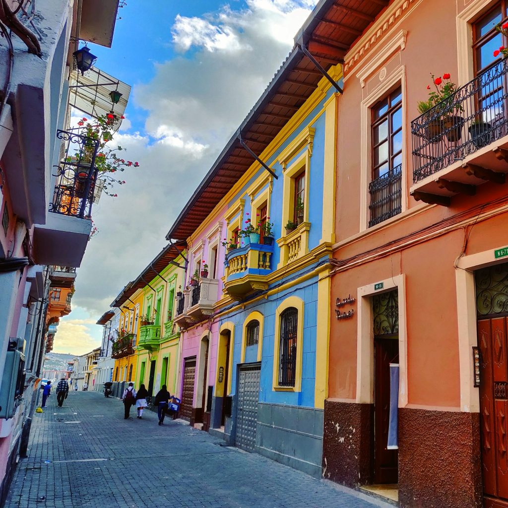 Colorful buildings in Quito Old Town
