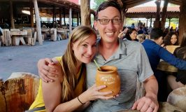John & Heather drinking a cantarito in Mexico