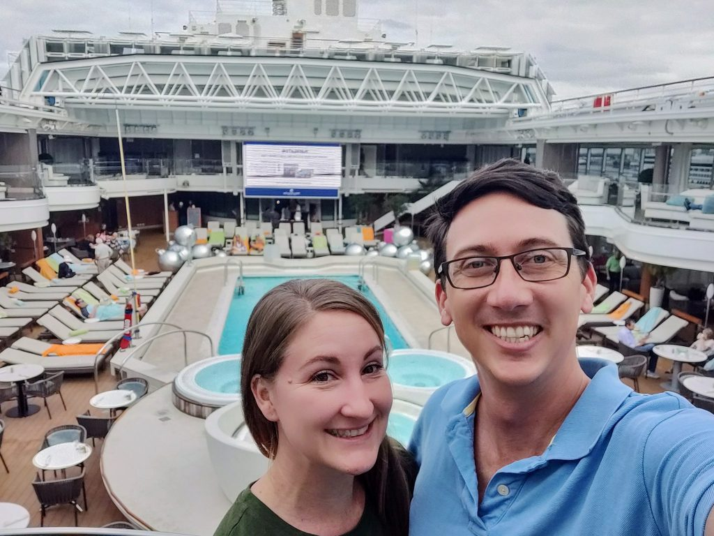 John and Heather selfie on HAL Koningsdam cruise ship