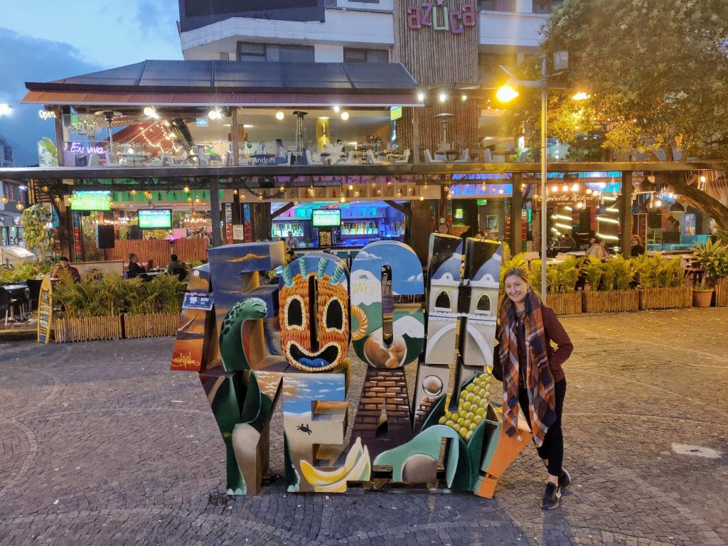 Plaza Foch sign in Quito Ecuador