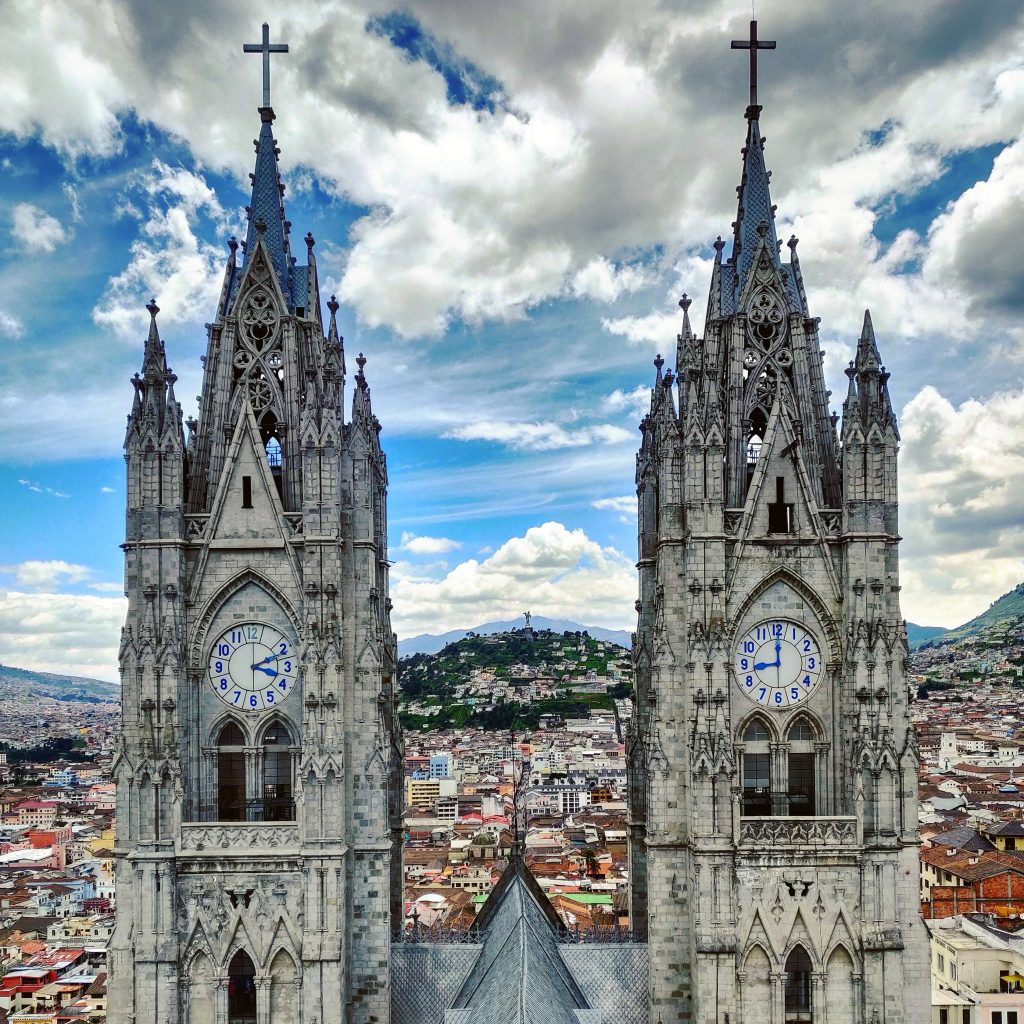 Clock towers of Basilica del Voto Nacional in Quito Ecuador