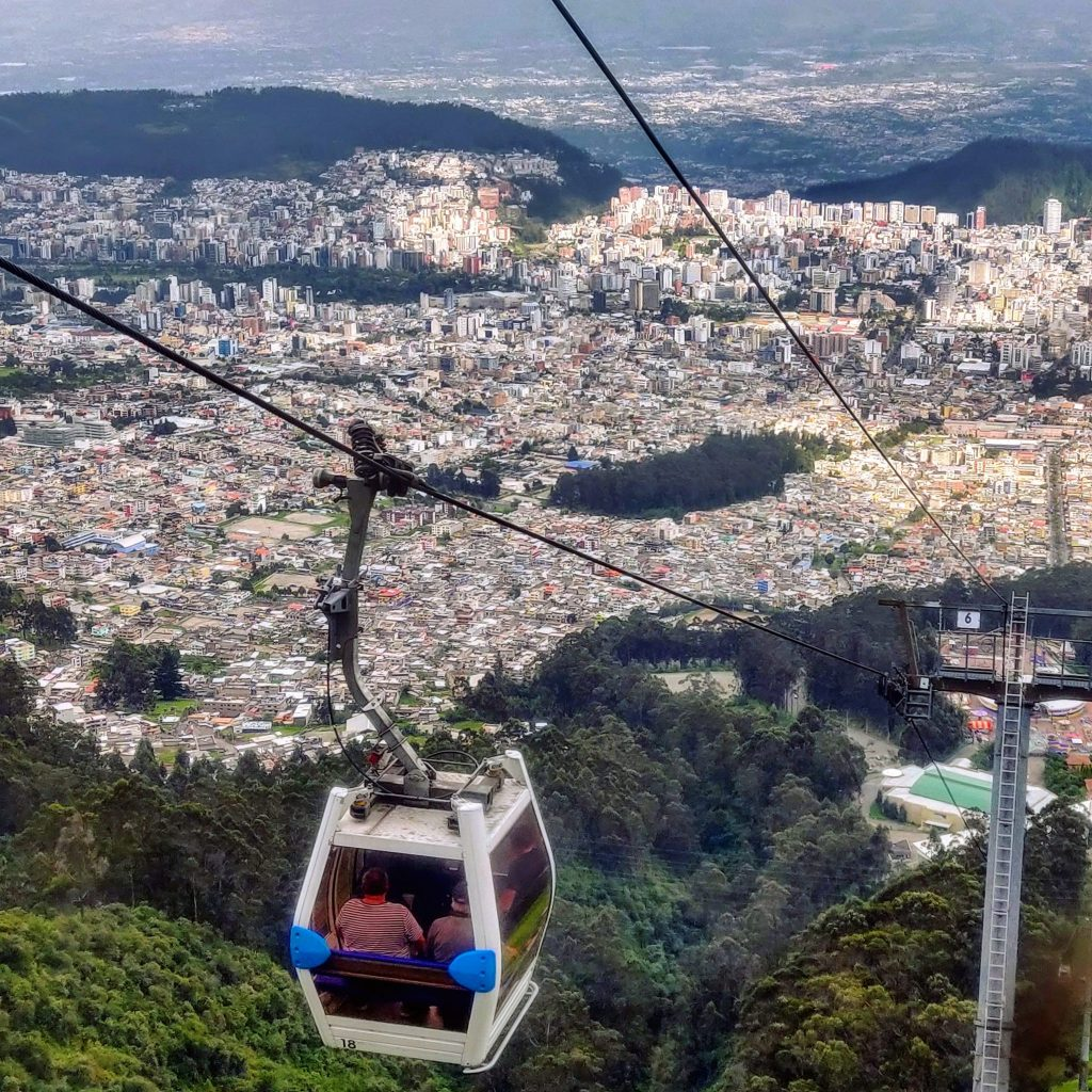 Quito TeleferiQo ascending from Quito up the Pichincha Volcano