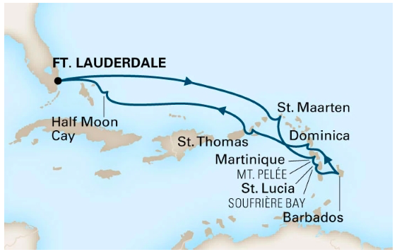 Map of eastern Caribbean Cruise itinerary