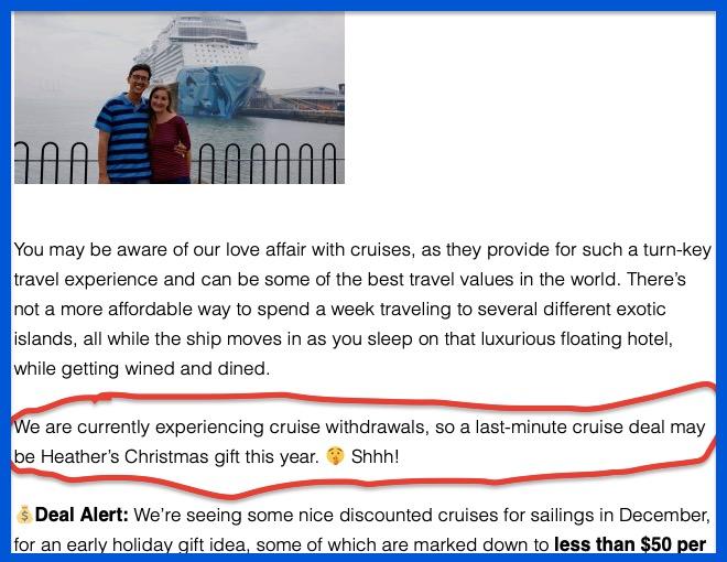 screen shot of cruise gift idea