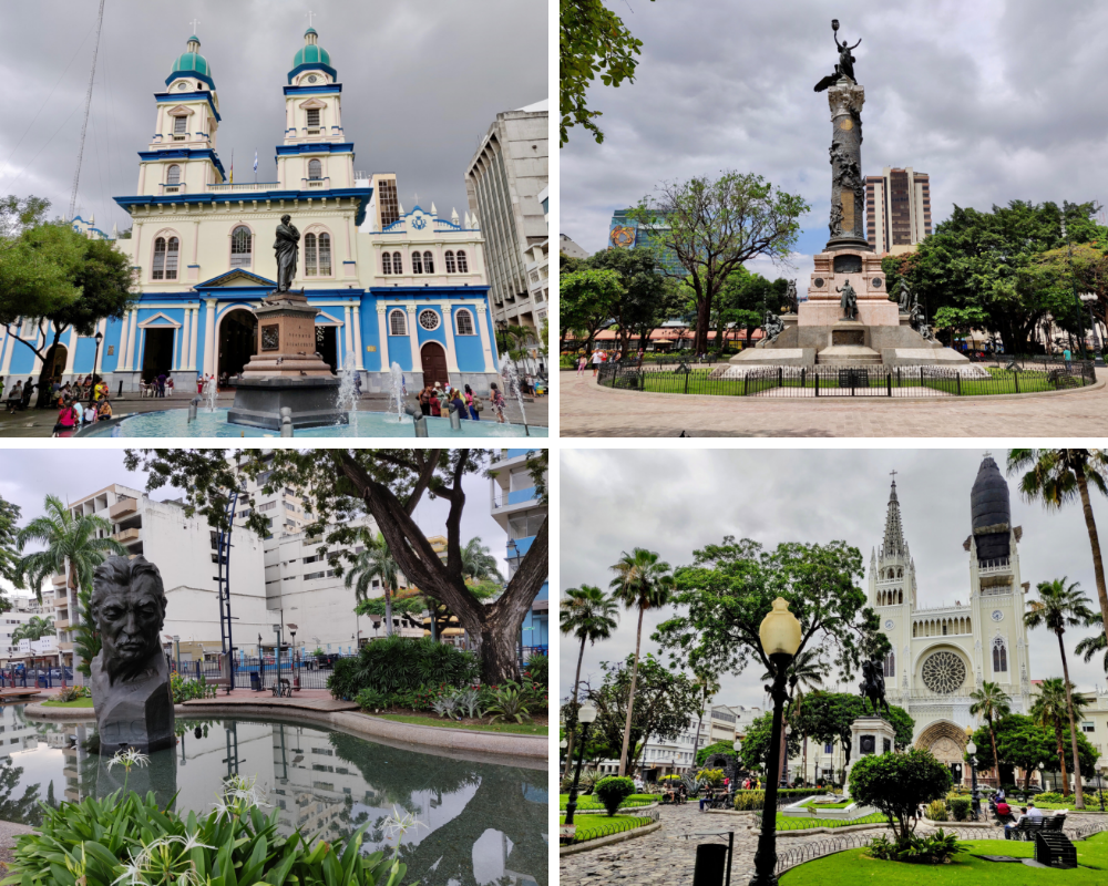 Downtown Guayaquil churches and monuments