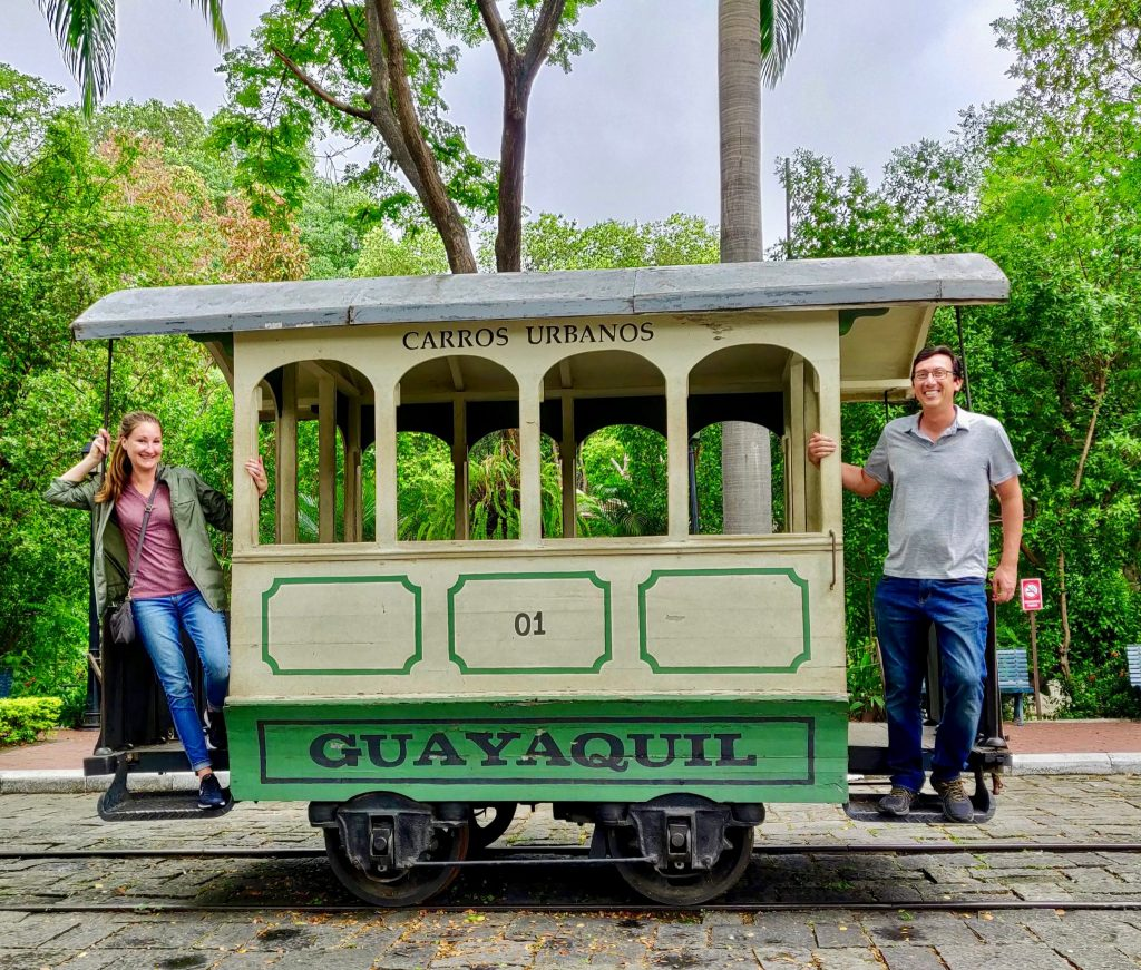Heather and John on old street car in Guayaquil