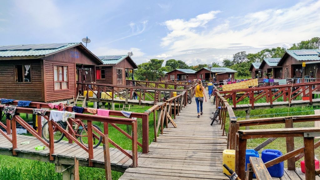 clothes hung out to dry in Isla Santay eco-village