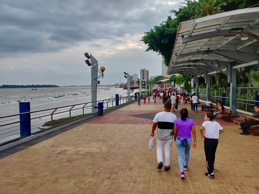 People walking on the Malecon 2000 along the Guayas River in Guayaquil Ecuador