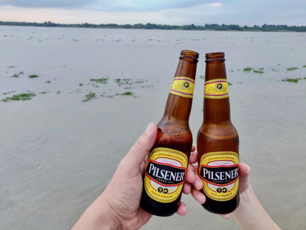 Pilsener beers along the Guayas River in Guayaquil Ecuador