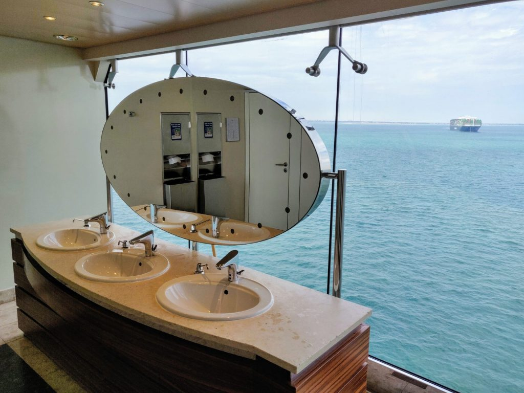 Bathroom sinks on cruise ship