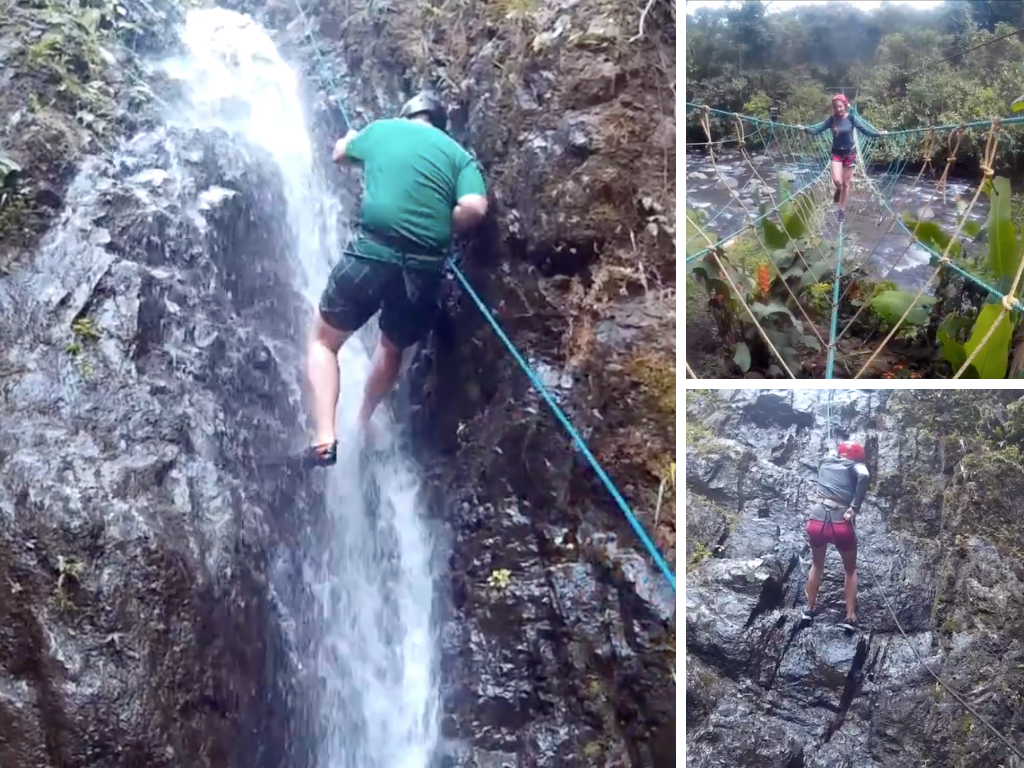 Canyoning in Mindo Ecuador collage of waterfall repel and rope bridge