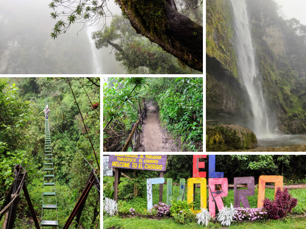El Chorro de Giron: waterfall, trail, swing bridge, and sign