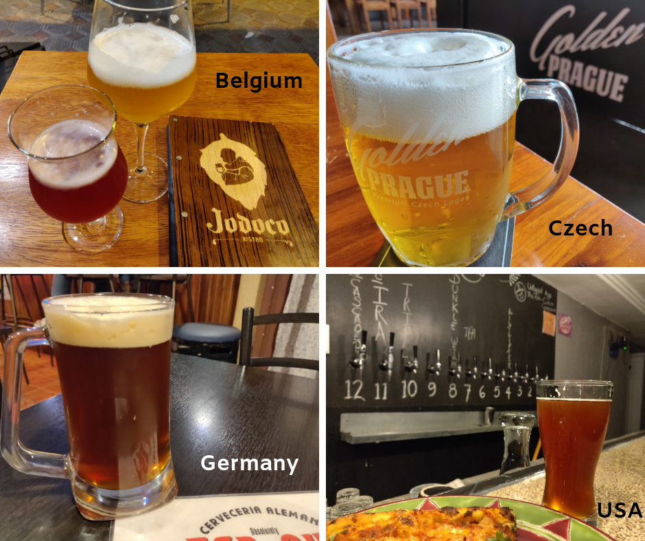 Beers in four international brewpubs found locally in Cuenca Ecuador