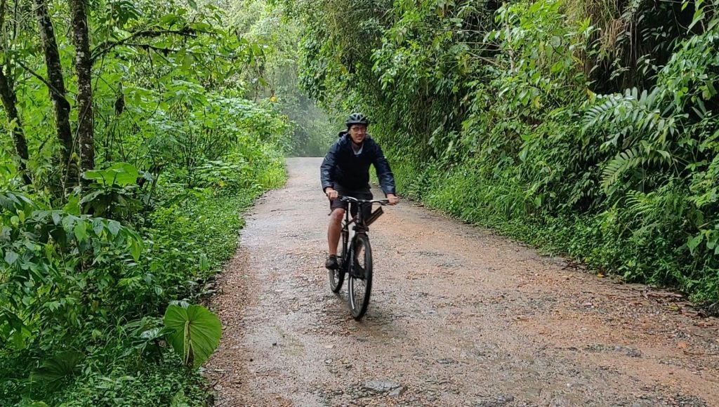 Mindo mountain biking downhill in the cloud forest