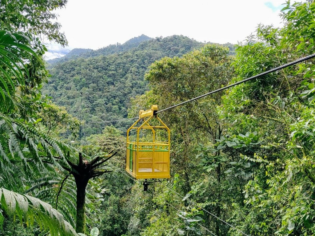 The Mindo tarabita cable car soars over the Mindo Cloud Forest