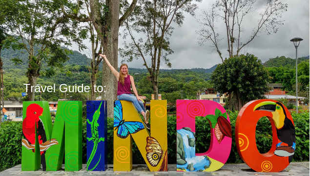 Mindo sign with title to post: Mindo Travel Guide