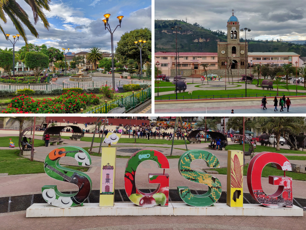 Sigsig Ecuador plazas and sign