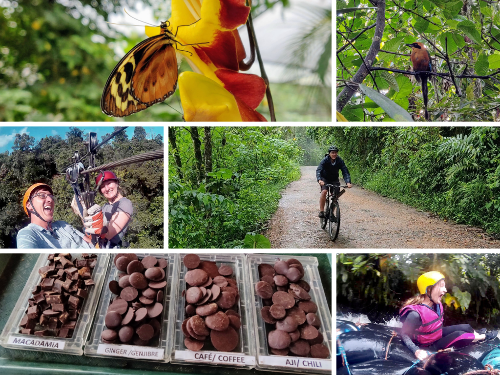 Things To Do in Mindo collage: butterfly farm, birding, zip-lining, mountain biking, chocolate factory, and tubing