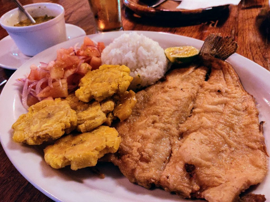 fried trout in Mindo with sides at El Chef restaurant