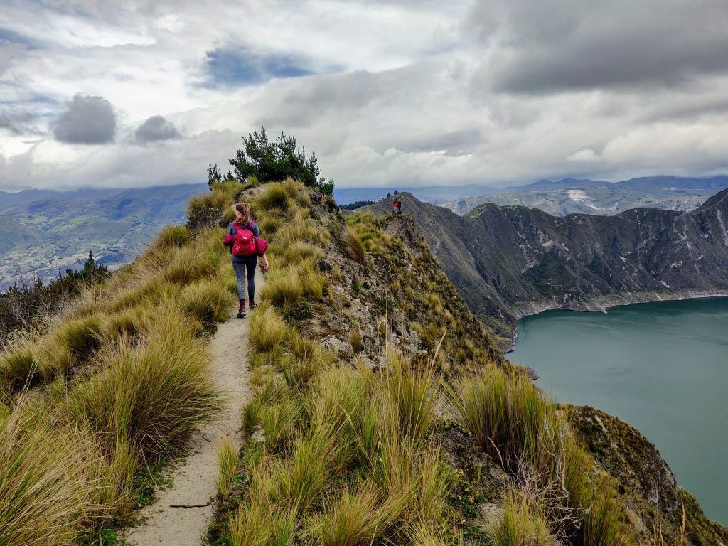 Hiking along the Quilotoa Crater rim