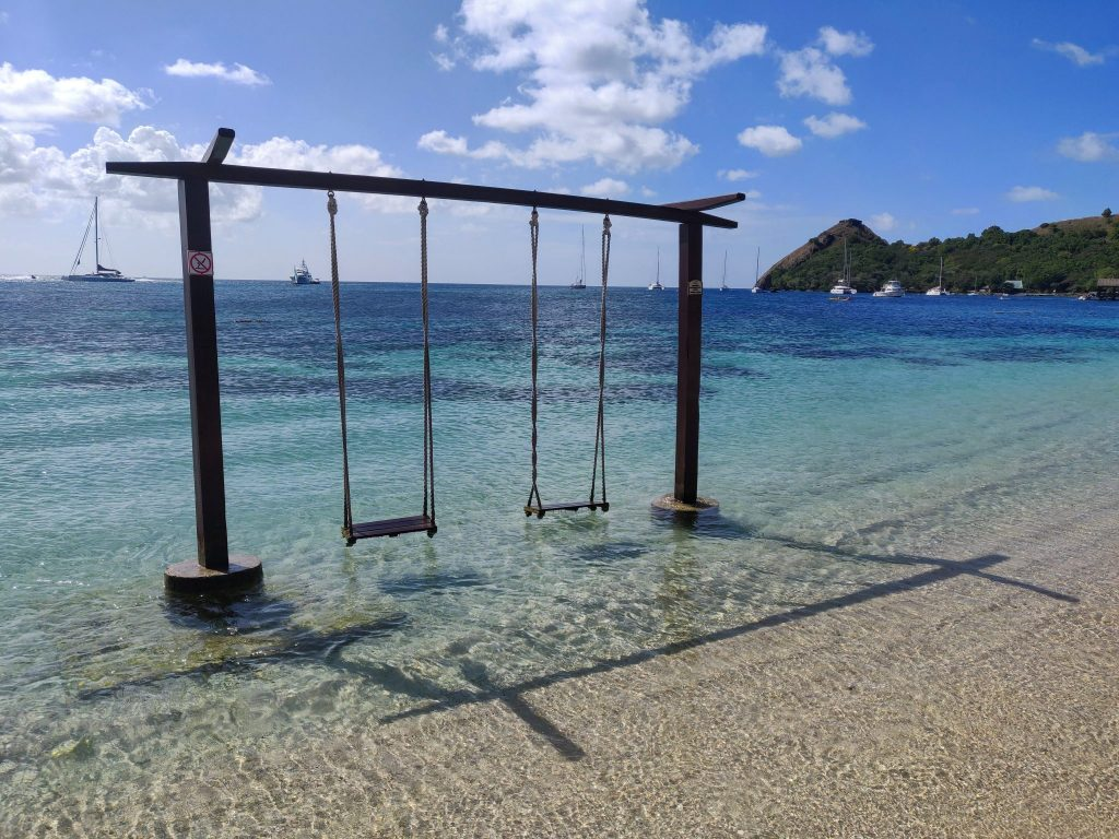St Lucia swings in the water