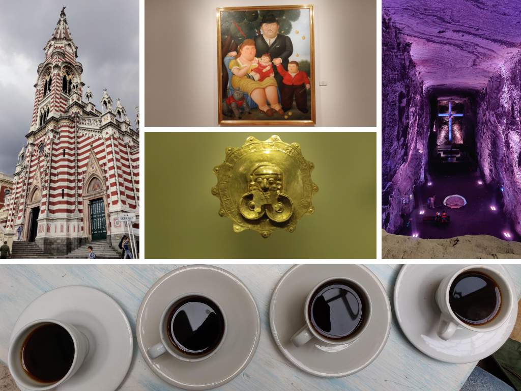 Bogota collage of Salt cathedral, botero painting coffee, gold museum, and church