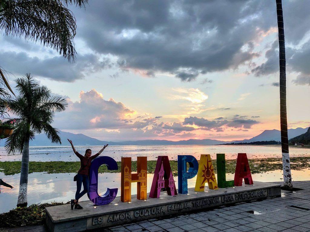 chapala sign at sunset