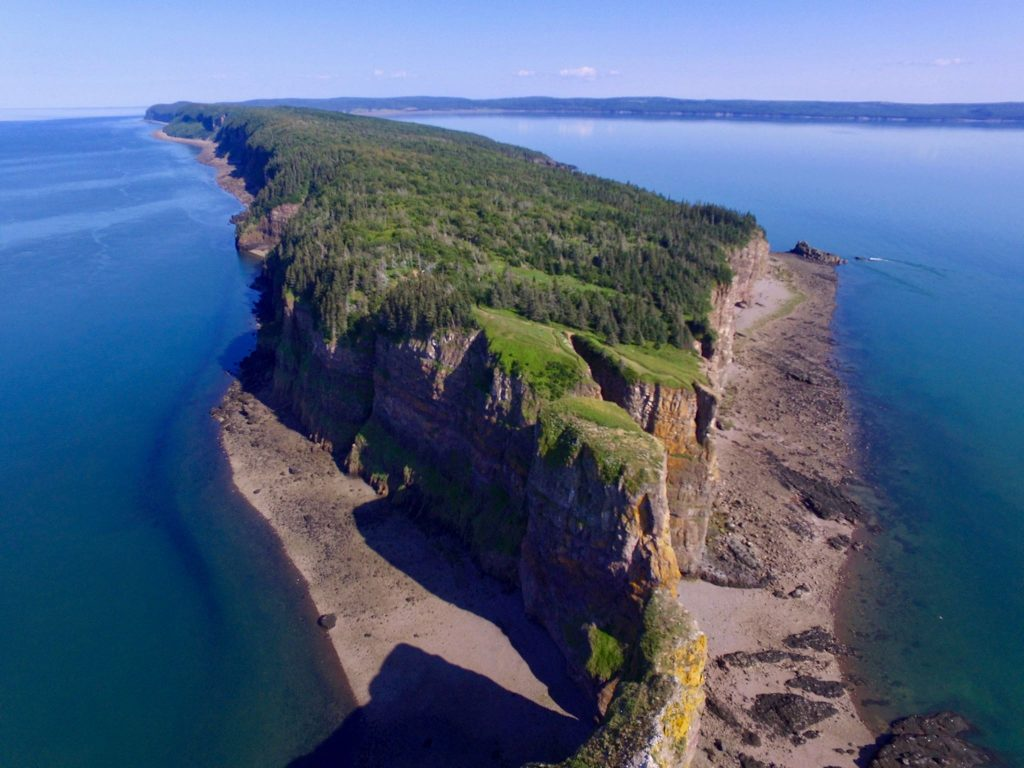 drone shot of Cape Split Nova Scotia